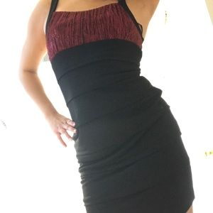 Sparkly red and black body con dress
